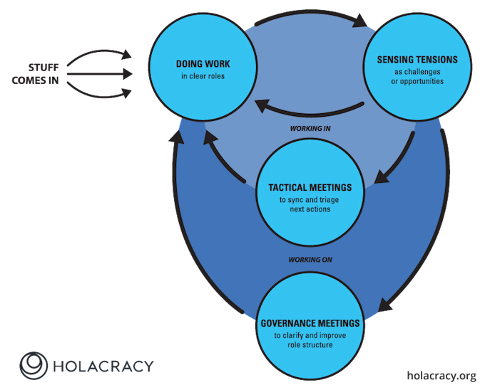 Funktionskreise des Management Systems Holacracy.