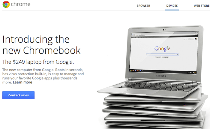 Google chrome Business Devices Screenshot